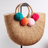 Straw Bucket Tote Bags with Ring Handle - w or w/o Tassels