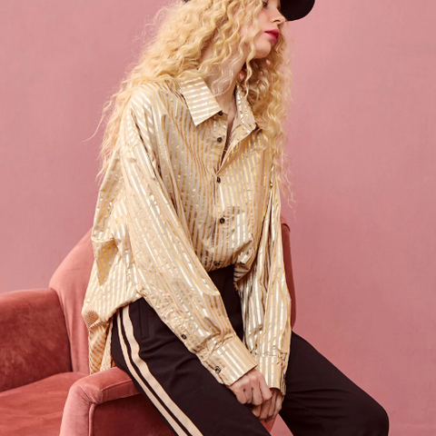 Casual Metallic Stripe Shirts Blouse - 2 Colors