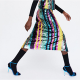 Catarina Side Slit Multi Stripe Sequin Skirt