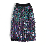 Latisha Iridescent Eyelash Fringe Metallic Pencil Skirt - 2 Colors