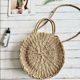 Mini Circle Straw Moroccan Market Tote  w/ or w/o Tassels - 2 Colors