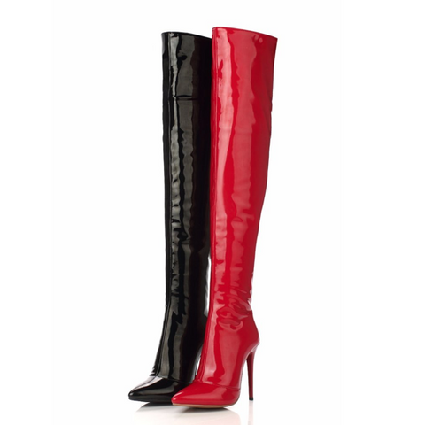 Patent Leather Over the Knee Boots - Red or Black