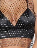 Crystal Rhinestone Embellished Mesh Tank Top - 2 Colors