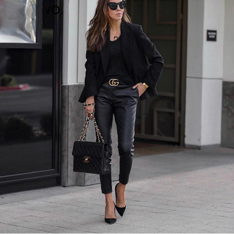 Casual Cropped Faux Leather Pencil Pants