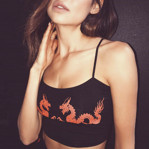 Mina Two Dragons Cropped Cami Top