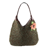 Meera Flower Corsage Woven Straw Hobo Bag - 5 Colors