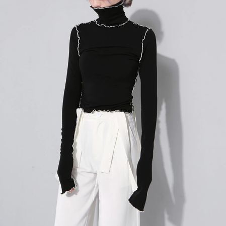 Tosi Color Contrast Tissue Turtleneck Top - 2 Colors