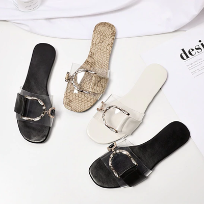 Rhinestone Embellished Metal Horsebit Buckle Slippers - 3 Colors