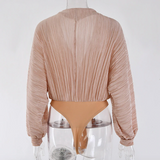Silvia Metallic Texture Wrap Front Bodysuit - 4 Colors