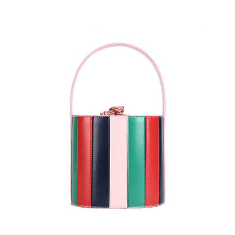 Ulia Stripe/Croc Leather Bucket Bags - 4 Colors
