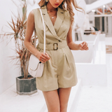 Amanda Sleeveless Safari Belted Jumpsuit