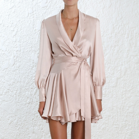 Lavina Satin Wrap Mini Dress - 4 Colors
