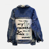 Distressed Denim Jacket with Graffiti Prints
