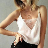 Lace Trim Chiffon Camisole - Black or White