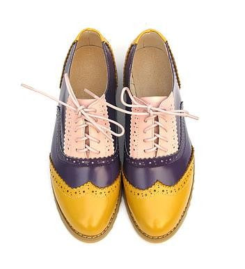 Vintage Color Contrast Oxford Brogues - 7 Styles