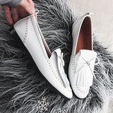 Genuine Leather Fringe & Rivet Oxford Loafer - 2 Colors