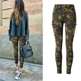 Casual Skinny Cargo Pants - Camo or Army Green