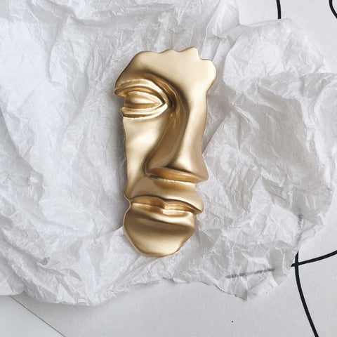 Face Abstract Gold Metal Brooch