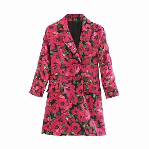 Gianna Belted Floral Blazer Dress