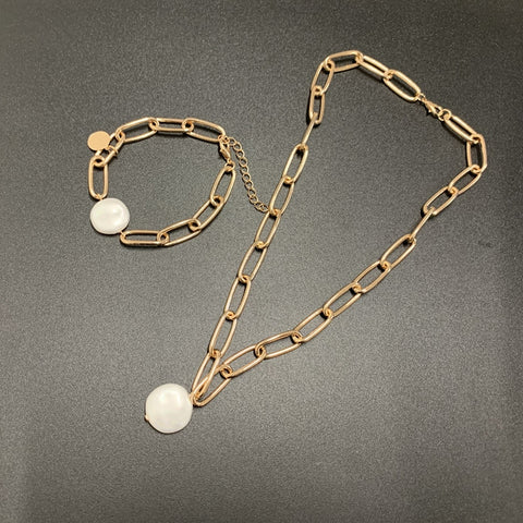 Pearl Pendant and Chain Link Necklace & Bracelet Set