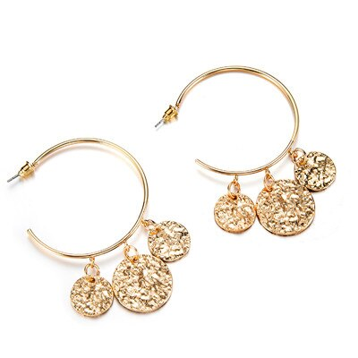 Danna Leaf Coins Hoop Earrings