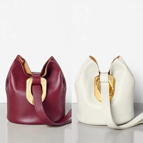 Amellia Genuine Leather Bucket Bag with Gold Ring - 2 Colors