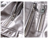 Silver Leather Biker Jacket