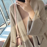 Herringbone Wool Knit Maxi Cardigan