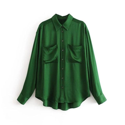 Emerald Green Satin Shirt Blouse