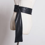 Faux Leather Trapezoid Buckle Long Belt - 5 Colors