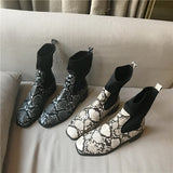 Lykke Snakeskin Prints Chelsea Sock Ankle Boots - 2 Colors