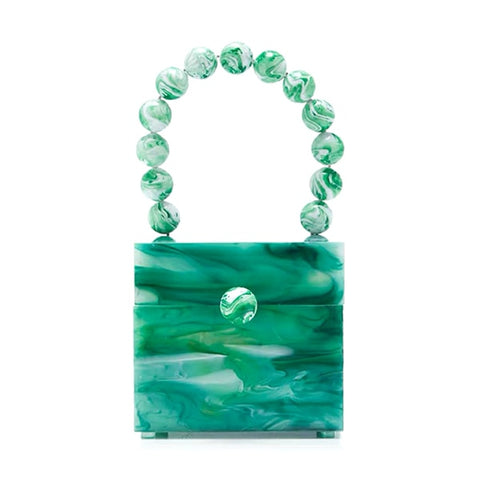Emelda Acrylic Resin Mini Box Tote with Beads Handle - 3 Colors