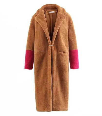 Luna Contrast Sleeves Plush Teddy Bear Coats - 2 Styles