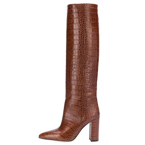 Croc and Snake Prints Knee High Boots - 11 Colors