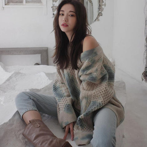Yumi Tie Dye Oversized V-Neck Sweater