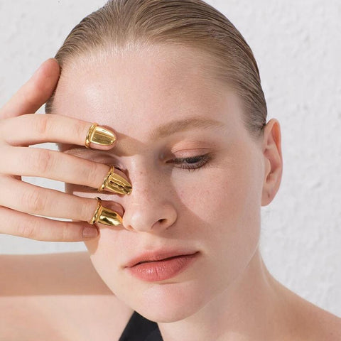 18K Gold Plated Nail Tip Rings - 3 Sizes