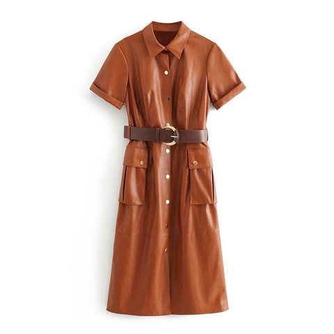 Rafaela Faux Leather Shirt Dress - 2 Colors