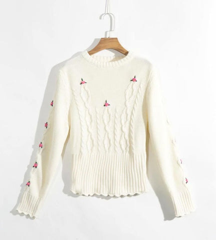 Clara Flower Embroidery Cable Sweater - 2 Colors.
