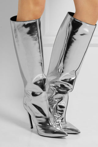 Reflective Silver Metallic Knee High Boots