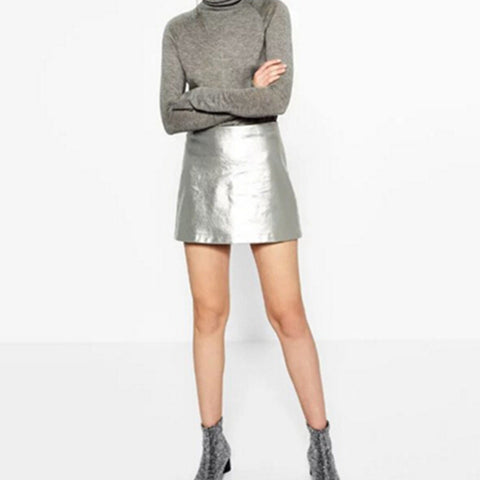 Metallic Disco Mini Skirt - Gold or Silver