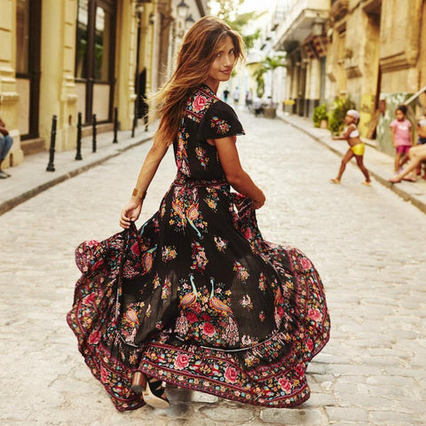 Dark Floral Print Sexy Retro Vintage Tassel Maxi Dress