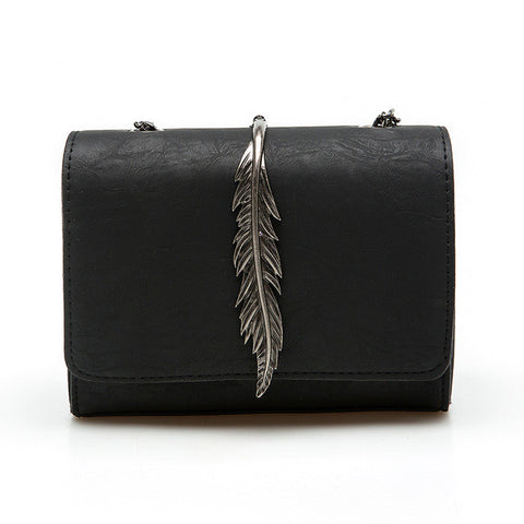 Metal Leaves Decorated Mini Suede Flap Shoulder Bag - 6 Colors