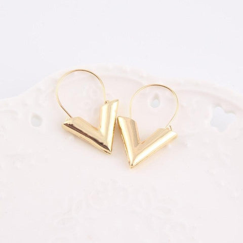 Vintage V Shape Hoop Earrings - 2 Colors