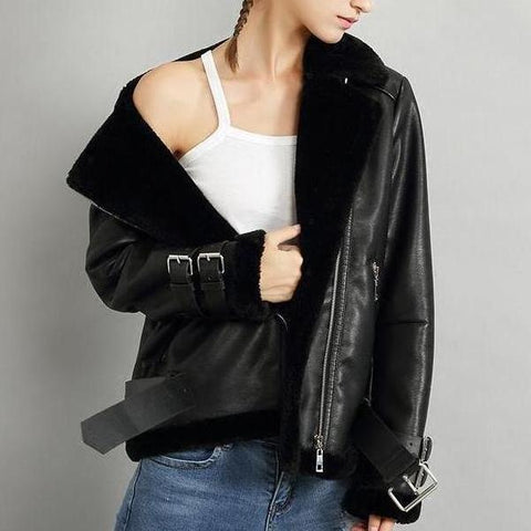 Faux Leather Shearling Moto Jackets - 3 Colors