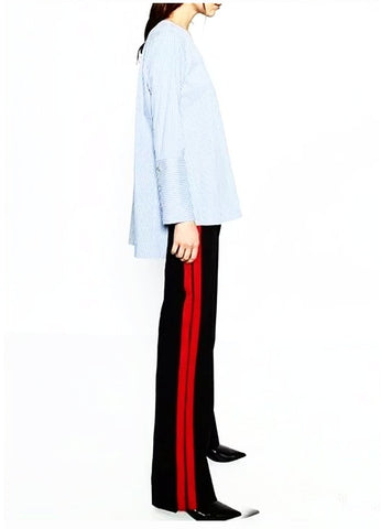 Casual Wide Leg Red Stripe Track Pants