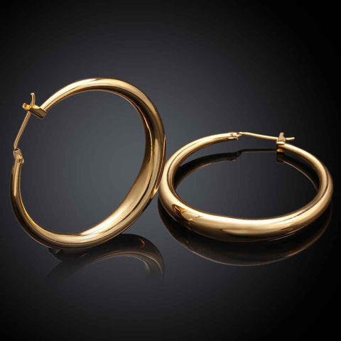 Casual Round Hoop Earrings - Gold or Rose Gold: BUY TWO & SAVE!