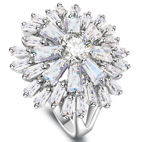 Crystal Flower Cocktail Ring