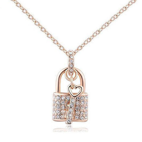 Key Padlock Pendant Necklace