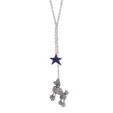 Blue Star and Poodle Rhinestone Silver Chain Necklace