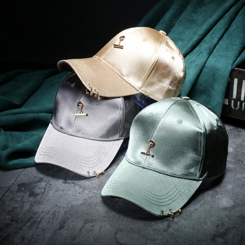 Satin Baseball Cap with Bar Charm & Pierce Rings - 5 Colors